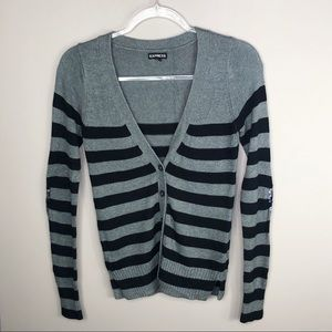 Express Gray & Black Striped Cardigan Sequin Elbow